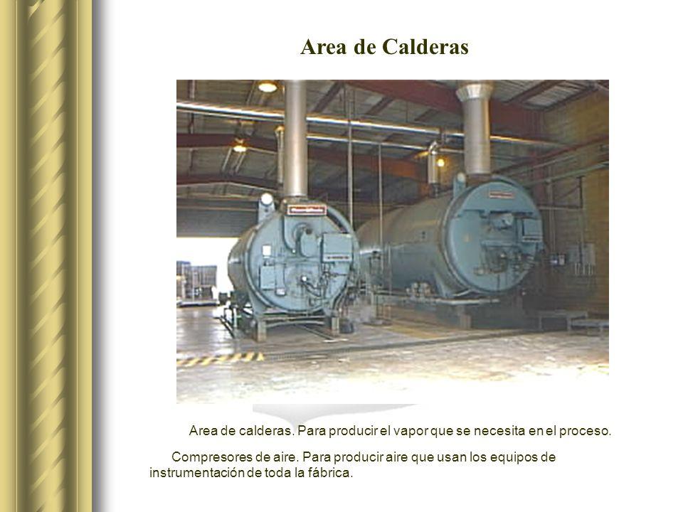 Area de Calderas Area de calderas. Para producir el vapor que se necesita en el proceso.