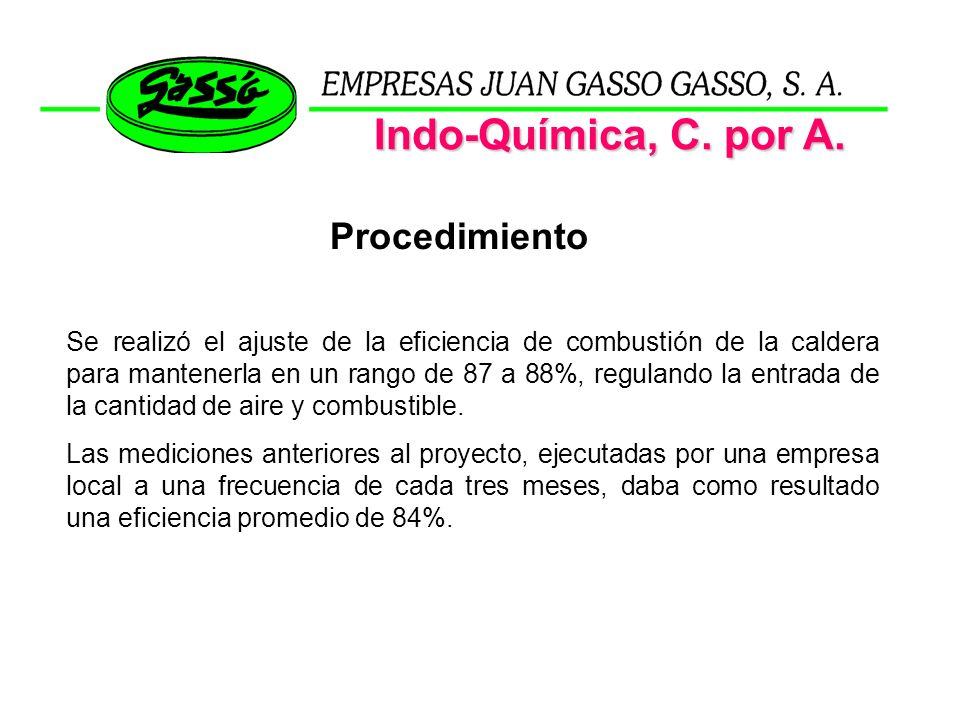 Indo-Química, C. por A. Procedimiento