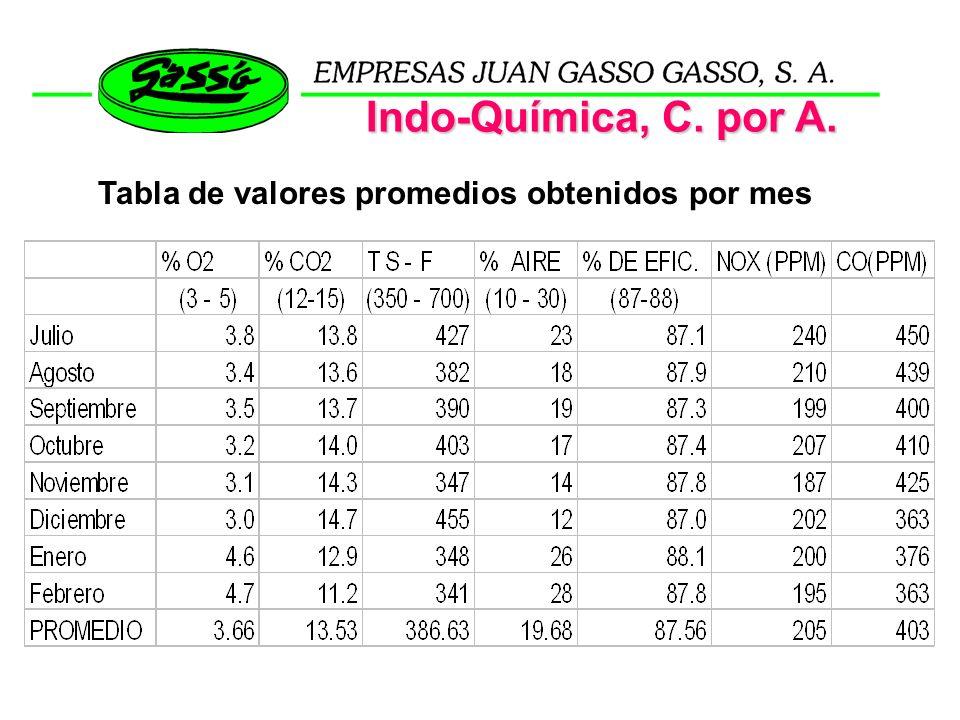 Indo-Química, C. por A. Tabla de valores promedios obtenidos por mes