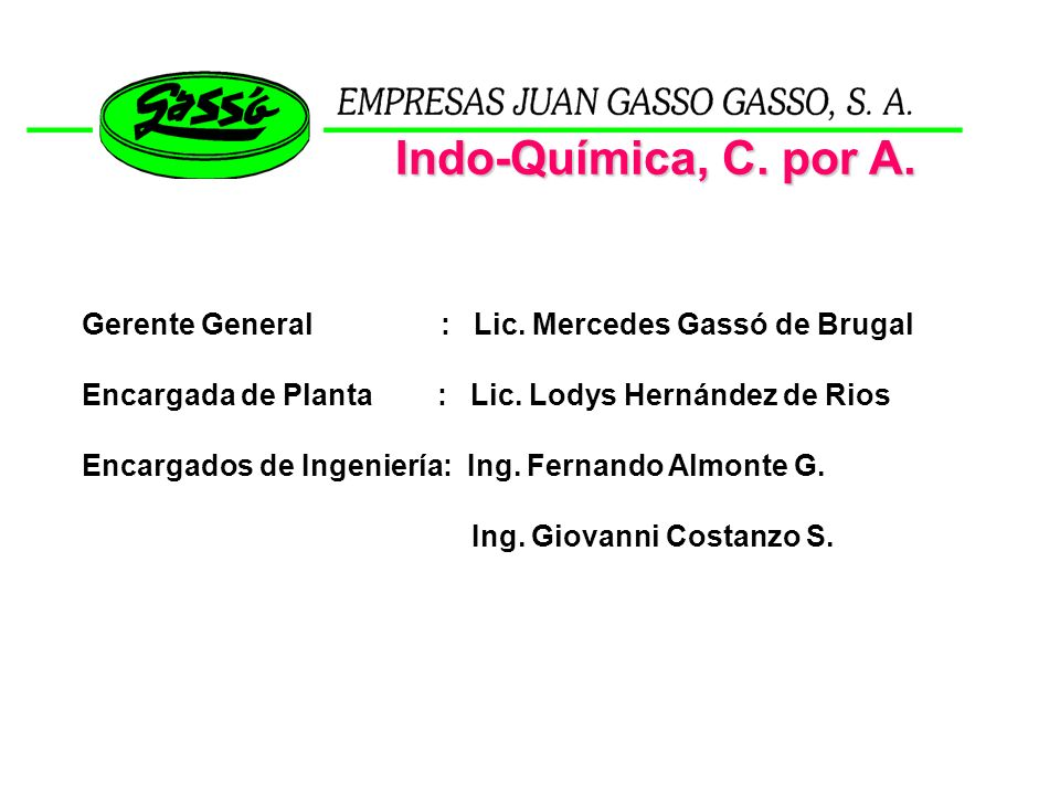 Indo-Química, C. por A. Gerente General : Lic. Mercedes Gassó de Brugal.