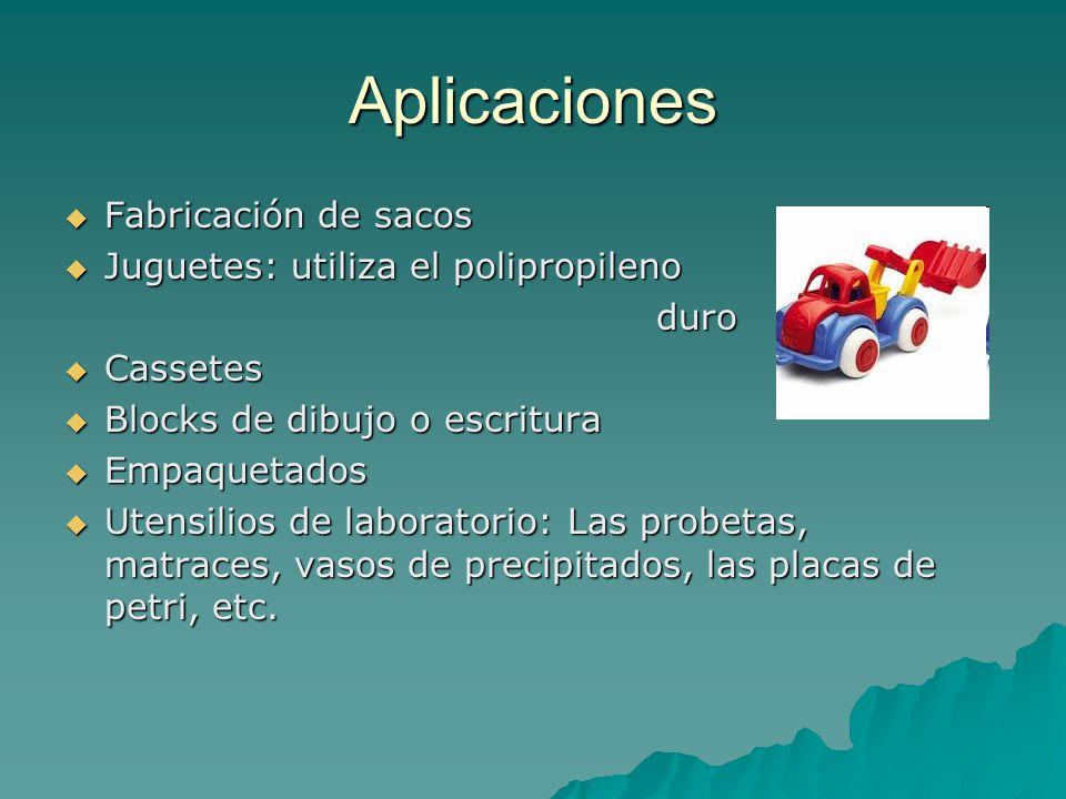 Aplicaciones Fabricación de sacos Juguetes: utiliza el polipropileno