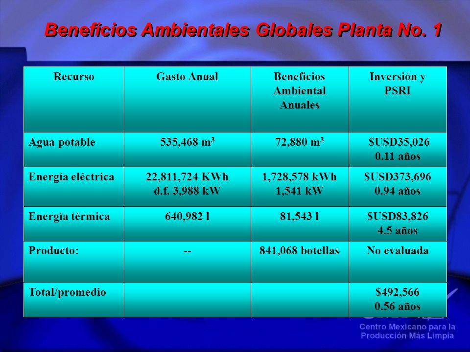 Beneficios Ambientales Globales Planta No. 1