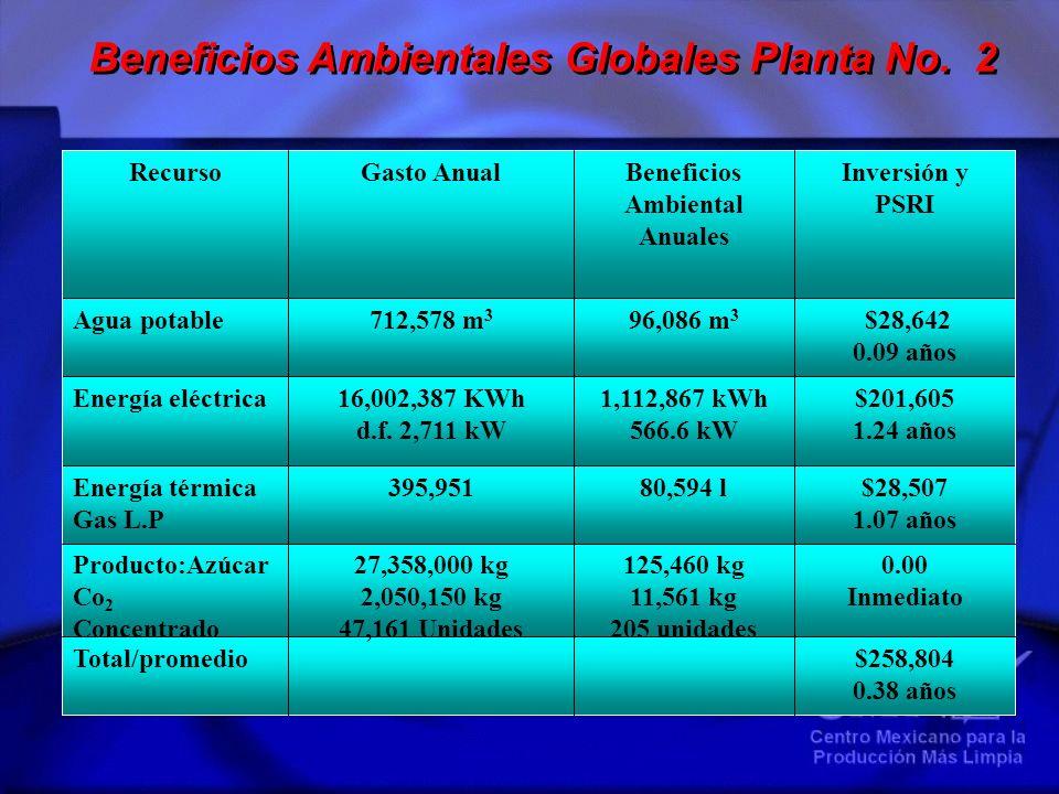 Beneficios Ambientales Globales Planta No. 2