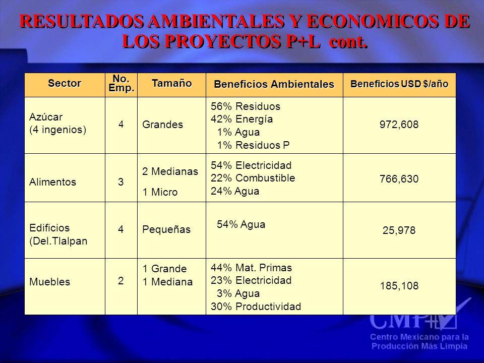 RESULTADOS AMBIENTALES Y ECONOMICOS DE LOS PROYECTOS P+L cont.