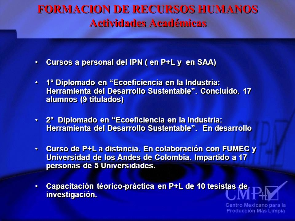 FORMACION DE RECURSOS HUMANOS Actividades Académicas