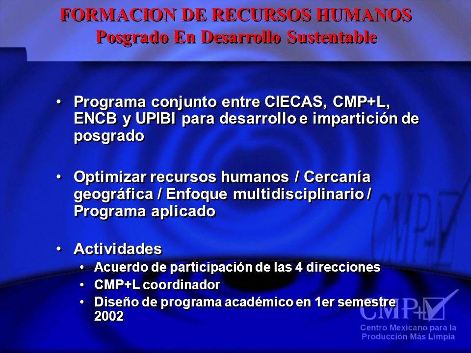 FORMACION DE RECURSOS HUMANOS Posgrado En Desarrollo Sustentable