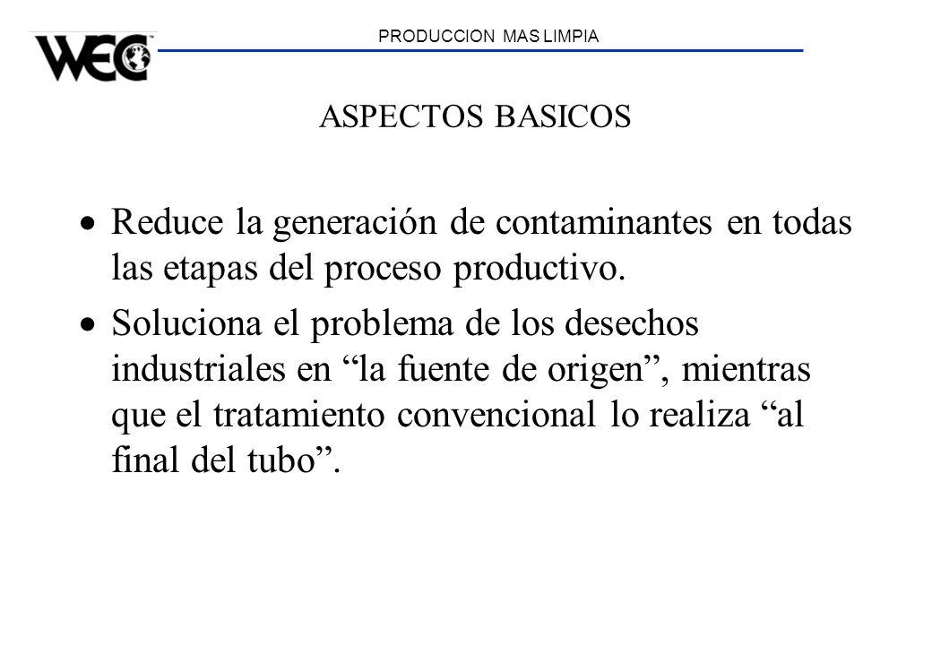 PRODUCCION MAS LIMPIA ASPECTOS BASICOS. Reduce la generación de contaminantes en todas las etapas del proceso productivo.
