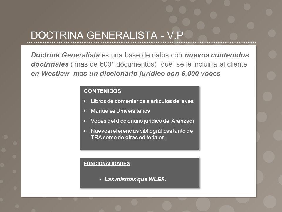 DOCTRINA GENERALISTA - V.P