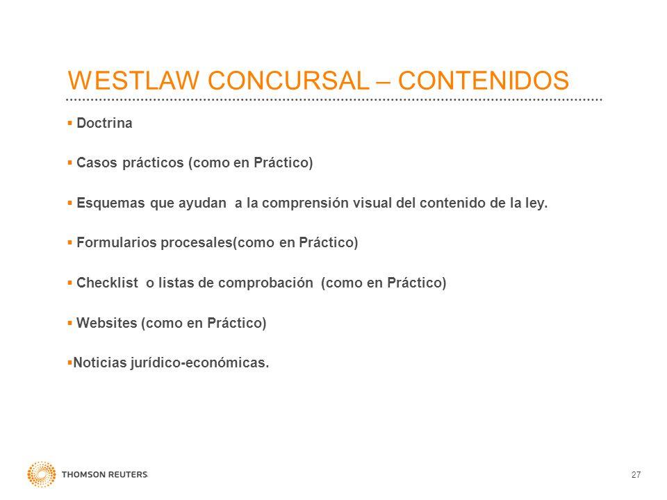 WESTLAW CONCURSAL – CONTENIDOS