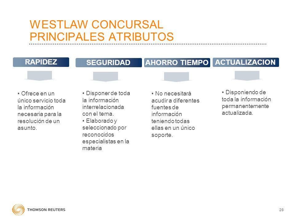 WESTLAW CONCURSAL PRINCIPALES ATRIBUTOS