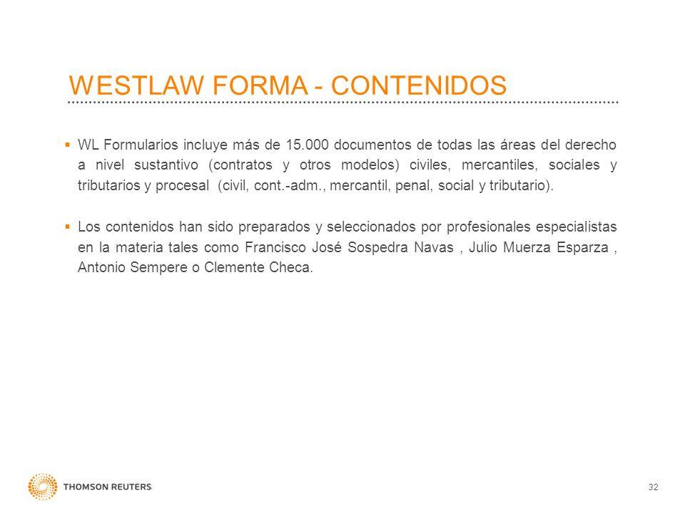 WESTLAW FORMA - CONTENIDOS