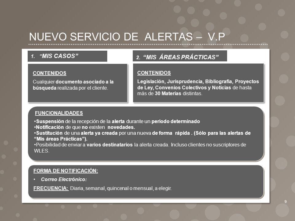 NUEVO SERVICIO DE ALERTAS – V.P