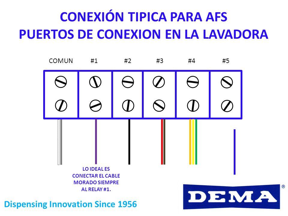 CONEXIÓN TIPICA PARA AFS PUERTOS DE CONEXION EN LA LAVADORA