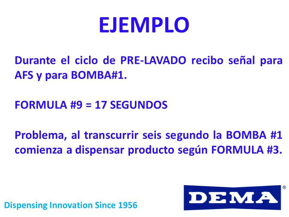EJEMPLODurante el ciclo de PRE-LAVADO recibo señal para AFS y para BOMBA#1. FORMULA #9 = 17 SEGUNDOS.