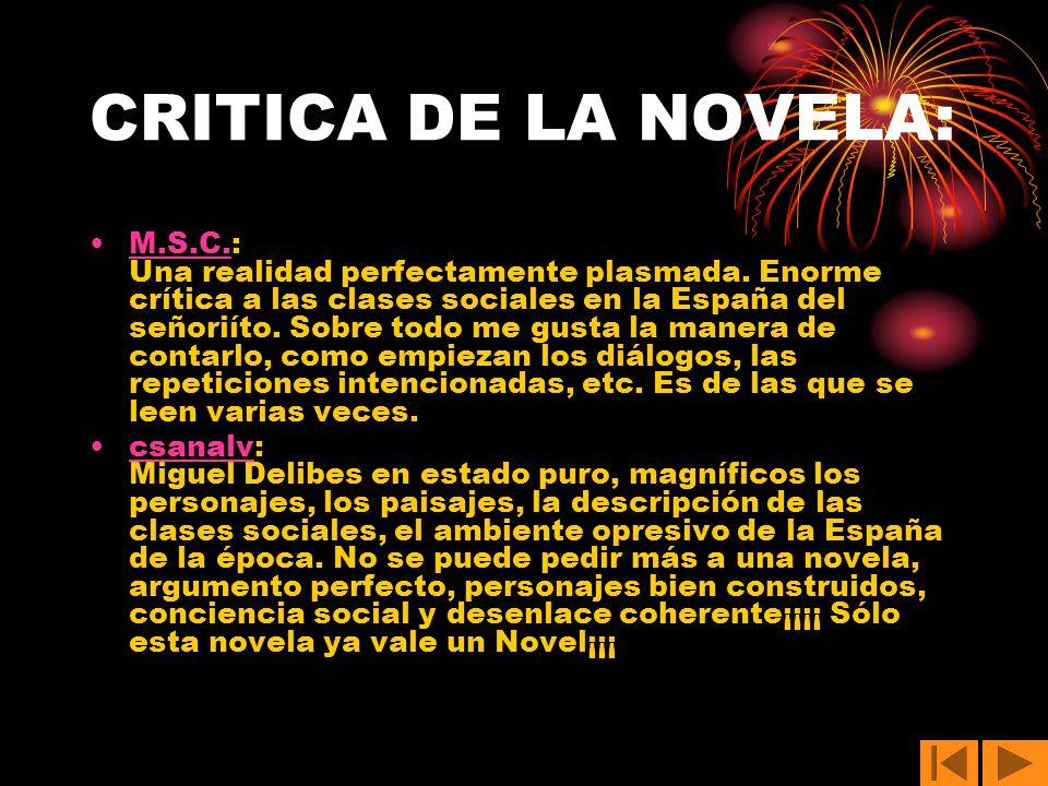 CRITICA DE LA NOVELA:
