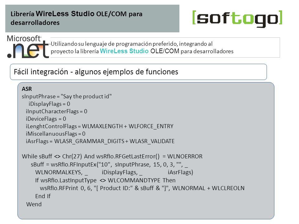 Fácil integración - algunos ejemplos de funciones