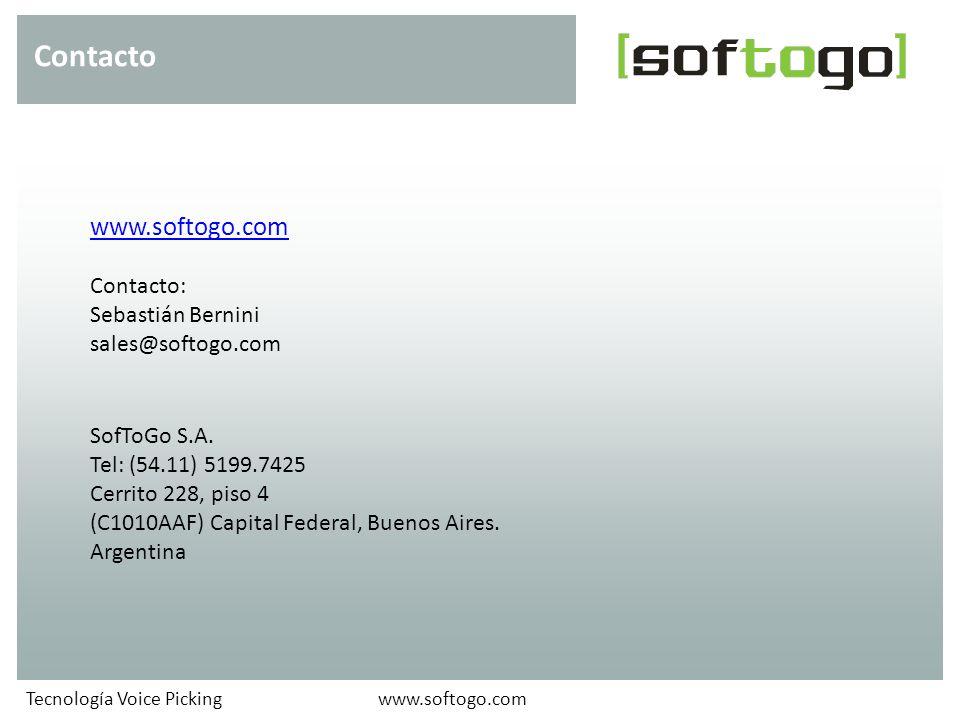Contacto www.softogo.com Contacto: Sebastián Bernini sales@softogo.com