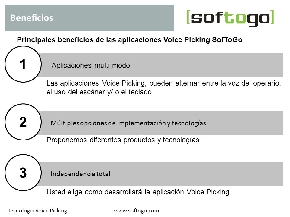 Beneficios Principales beneficios de las aplicaciones Voice Picking SofToGo. 1. Aplicaciones multi-modo.