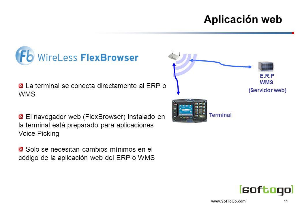 Aplicación web La terminal se conecta directamente al ERP o WMS