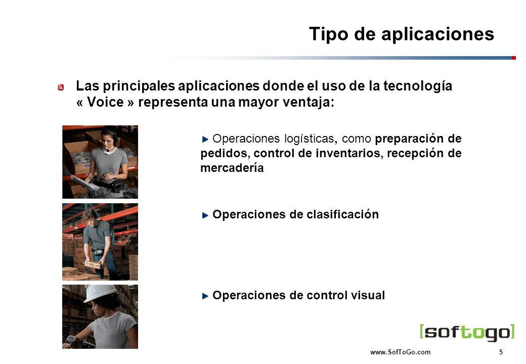 Tipo de aplicaciones Las principales aplicaciones donde el uso de la tecnología « Voice » representa una mayor ventaja:
