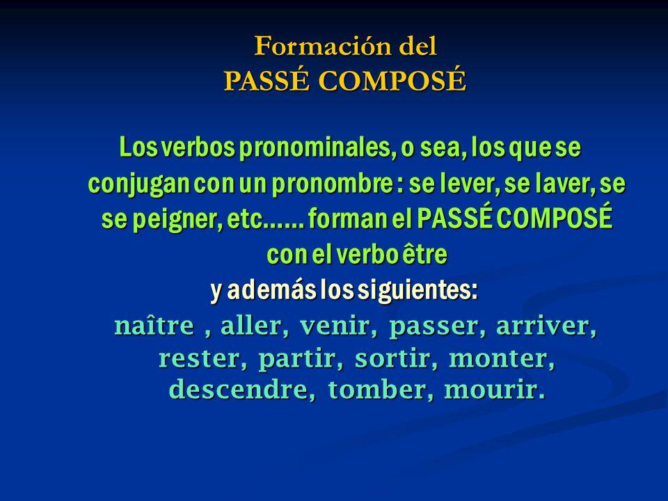 Formación del PASSÉ COMPOSÉ y además los siguientes: