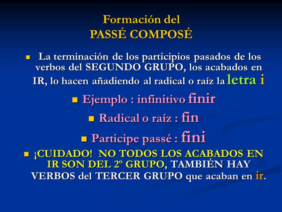 Formación del PASSÉ COMPOSÉ Ejemplo : infinitivo finir