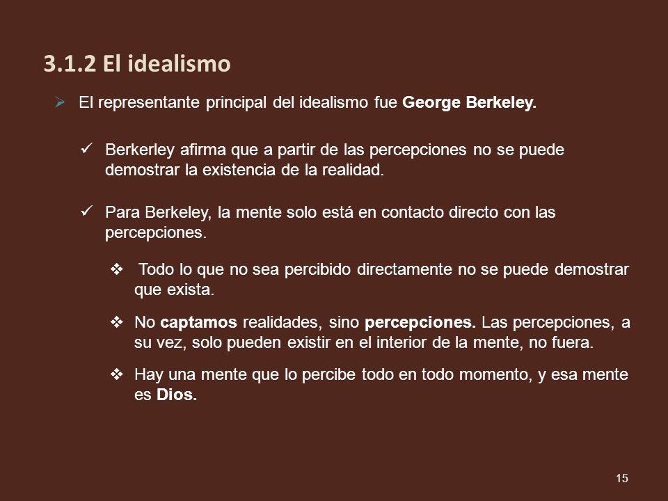 3.1.2 El idealismo El representante principal del idealismo fue George Berkeley.