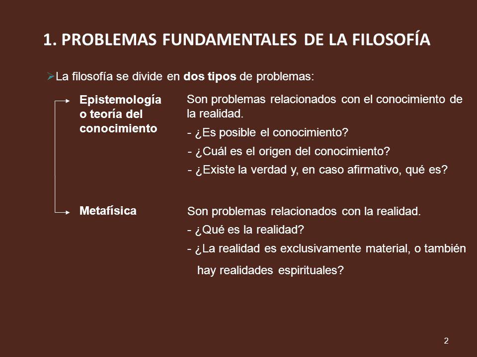 1. PROBLEMAS FUNDAMENTALES DE LA FILOSOFÍA