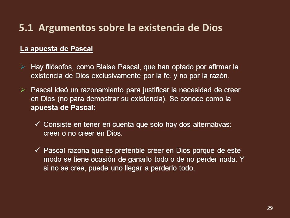 5.1 Argumentos sobre la existencia de Dios