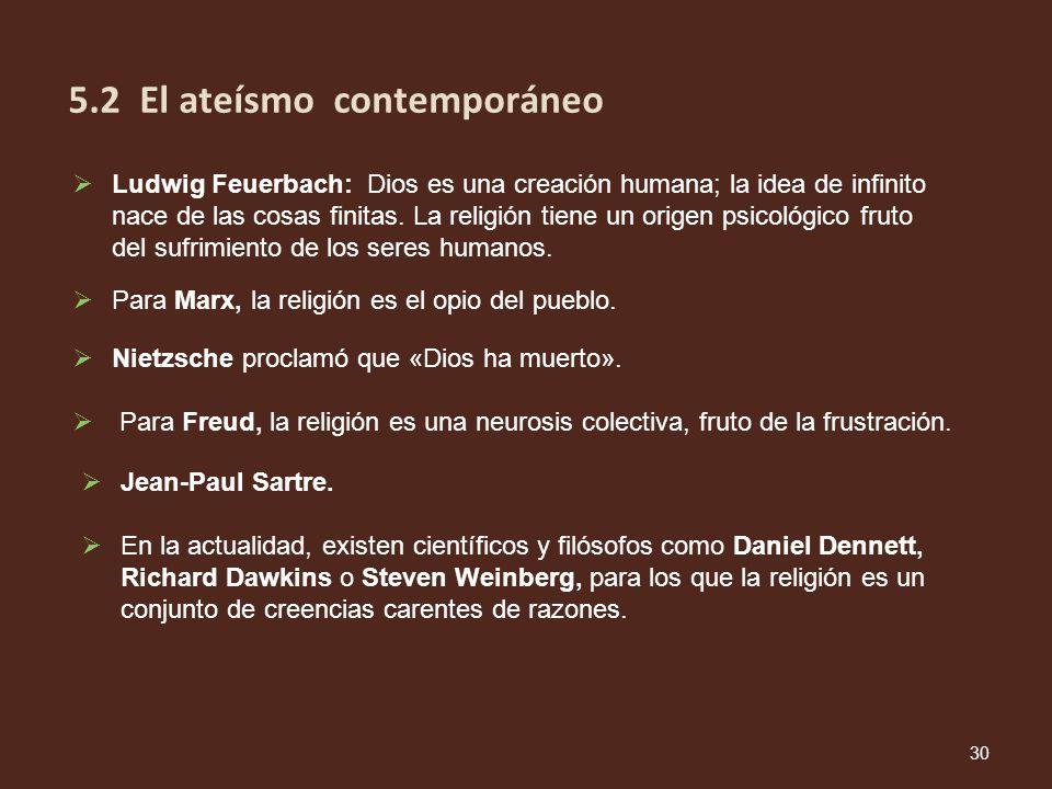 5.2 El ateísmo contemporáneo