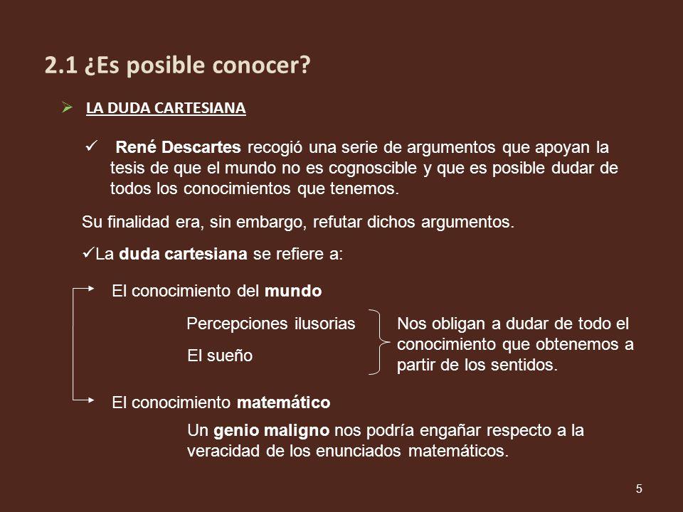 2.1 ¿Es posible conocer LA DUDA CARTESIANA