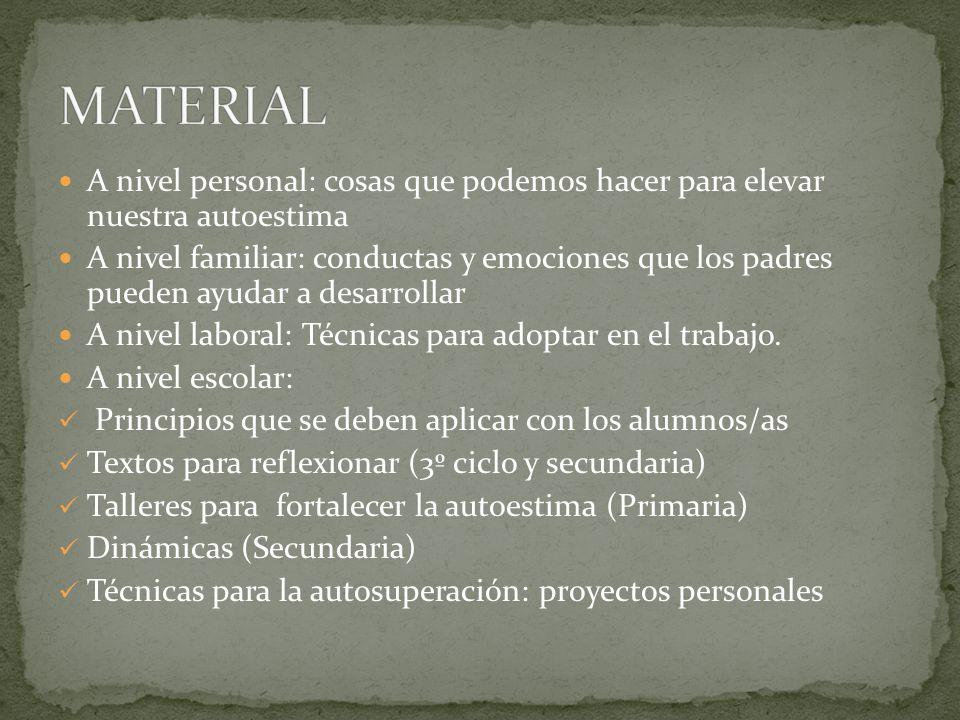 MATERIAL A nivel personal: cosas que podemos hacer para elevar nuestra autoestima.