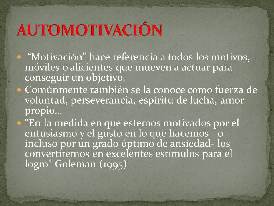 AUTOMOTIVACIÓN Motivación hace referencia a todos los motivos, móviles o alicientes que mueven a actuar para conseguir un objetivo.