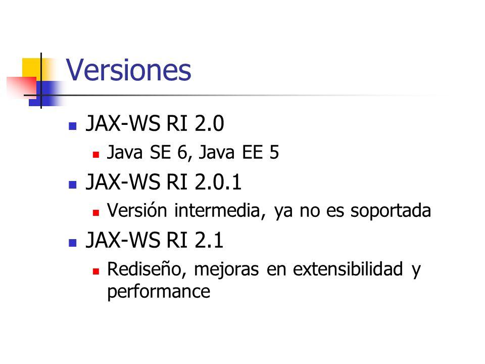Versiones JAX-WS RI 2.0 JAX-WS RI 2.0.1 JAX-WS RI 2.1