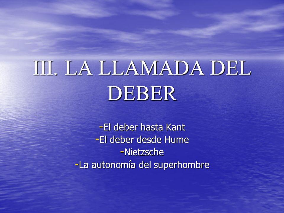 III. LA LLAMADA DEL DEBER