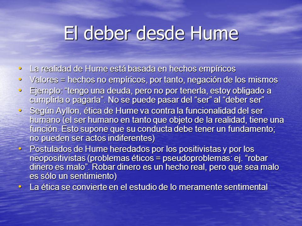 El deber desde Hume La realidad de Hume está basada en hechos empíricos. Valores = hechos no empíricos, por tanto, negación de los mismos.