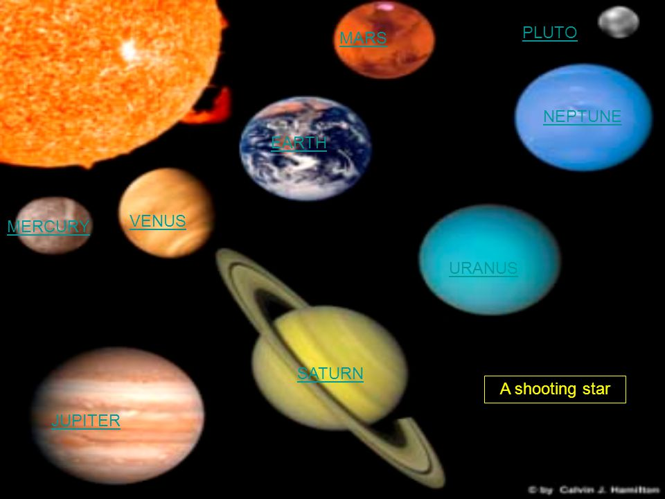 PLUTO MARS NEPTUNE EARTH VENUS MERCURY URANUS SATURN A shooting star JUPITER