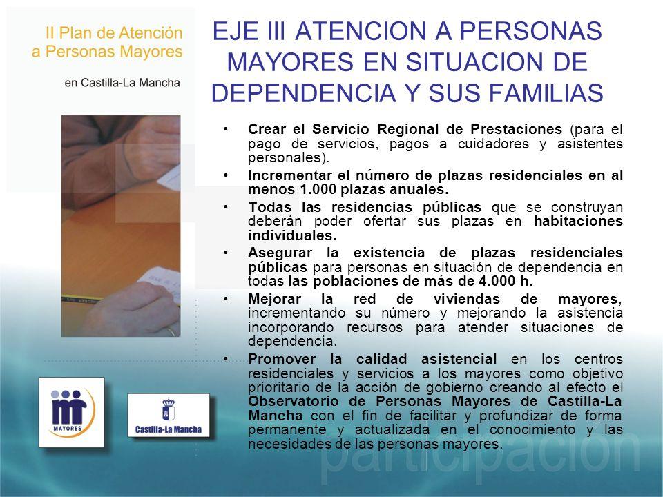 EJE III ATENCION A PERSONAS MAYORES EN SITUACION DE DEPENDENCIA Y SUS FAMILIAS