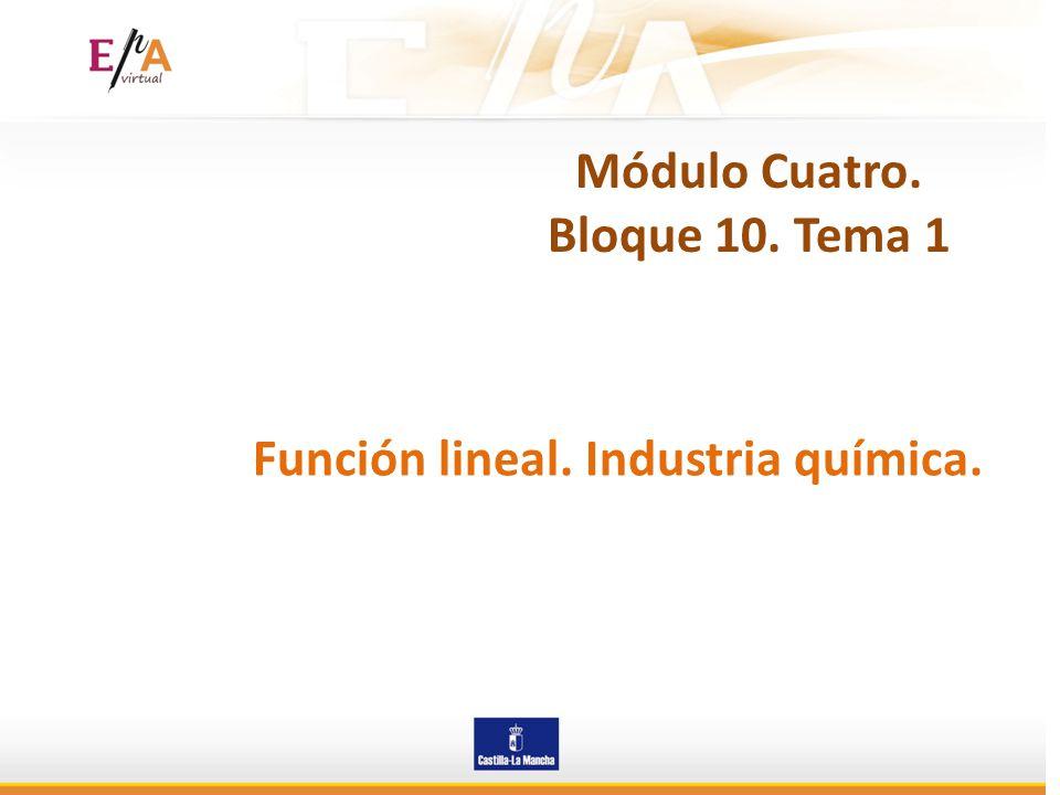 Módulo Cuatro. Bloque 10. Tema 1 Función lineal. Industria química.