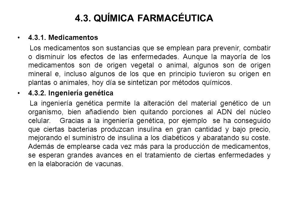 4.3. QUÍMICA FARMACÉUTICA 4.3.1. Medicamentos