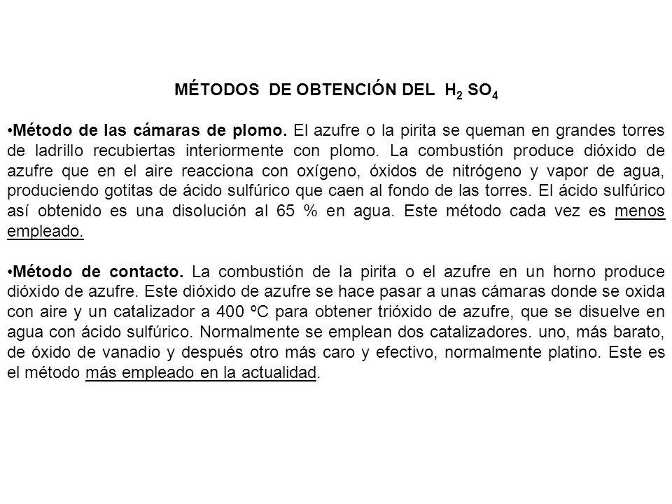 MÉTODOS DE OBTENCIÓN DEL H2 SO4
