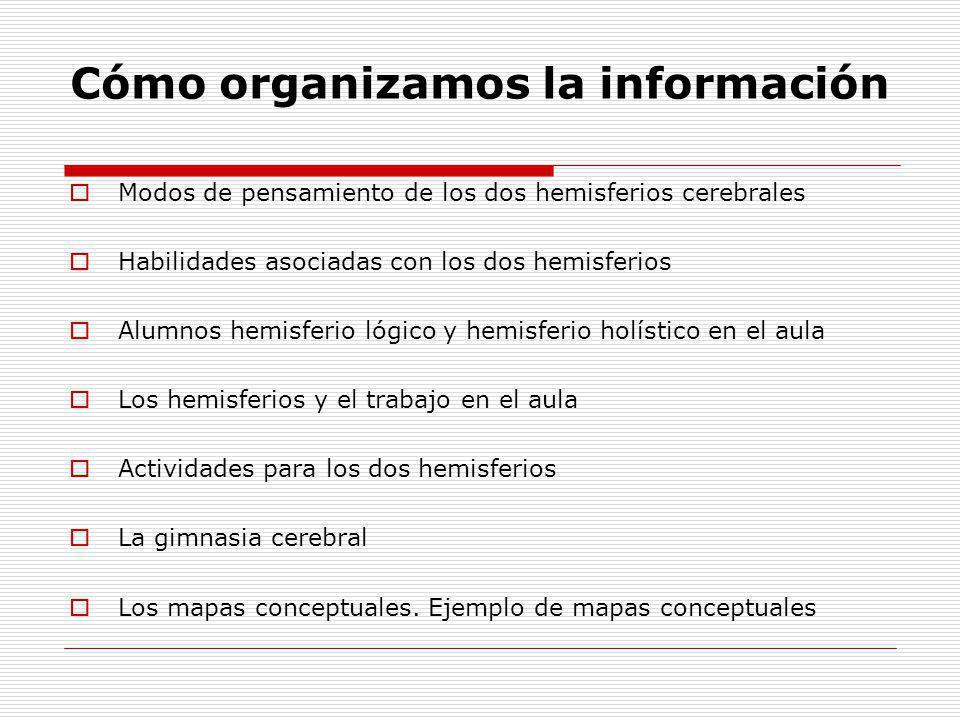 Cómo organizamos la información