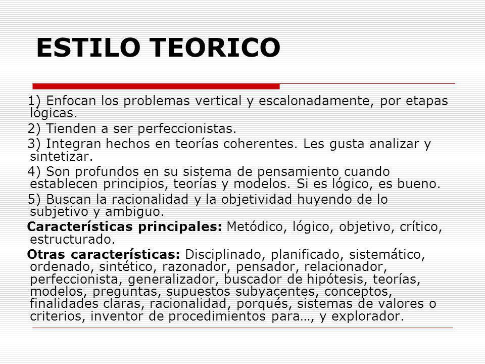 ESTILO TEORICO 1) Enfocan los problemas vertical y escalonadamente, por etapas lógicas. 2) Tienden a ser perfeccionistas.