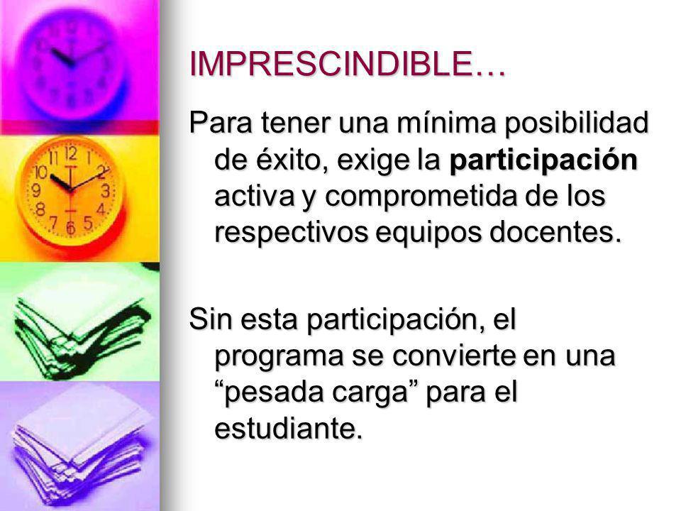 IMPRESCINDIBLE… Para tener una mínima posibilidad de éxito, exige la participación activa y comprometida de los respectivos equipos docentes.