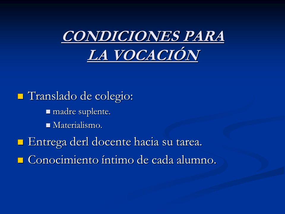 CONDICIONES PARA LA VOCACIÓN
