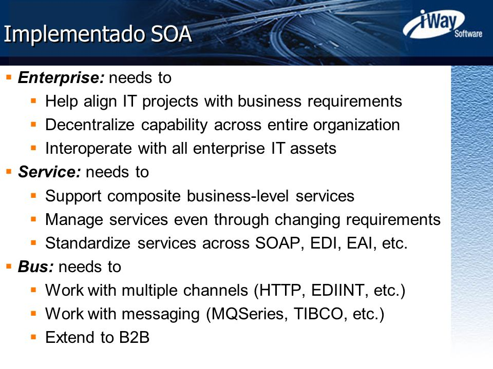 Implementado SOA Enterprise: needs to