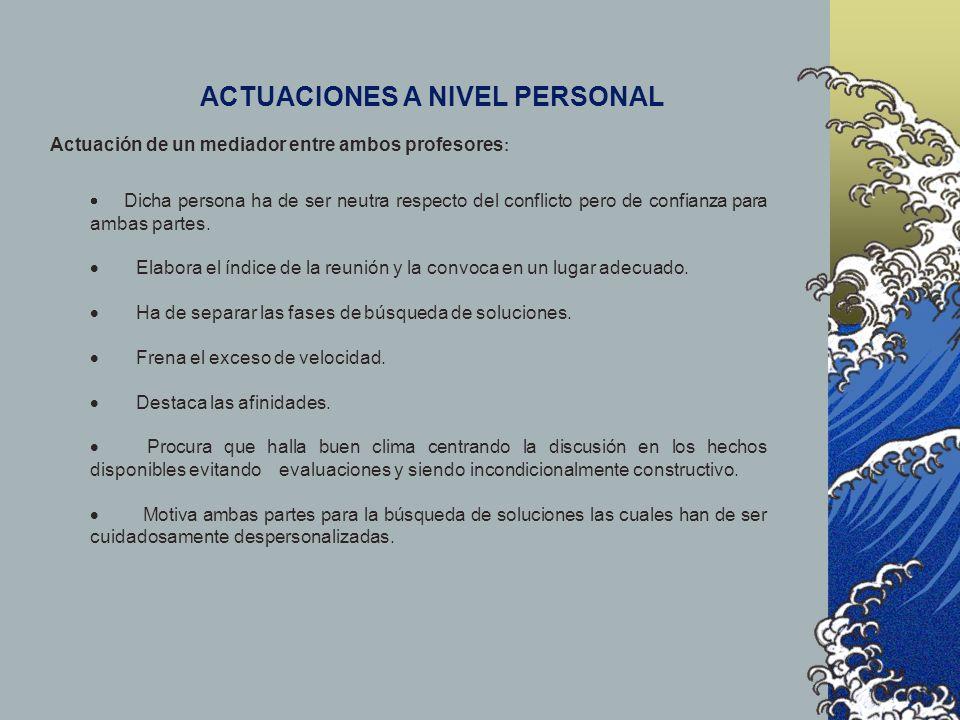 ACTUACIONES A NIVEL PERSONAL
