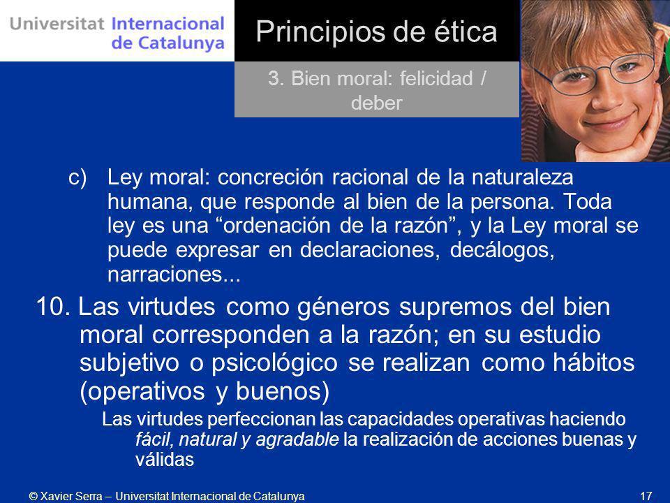3. Bien moral: felicidad / deber