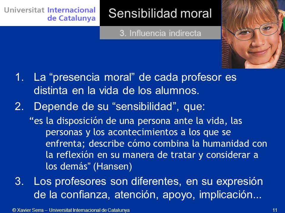 Sensibilidad moral 3. Influencia indirecta. La presencia moral de cada profesor es distinta en la vida de los alumnos.
