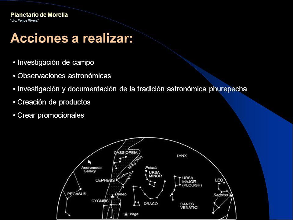 Acciones a realizar: Investigación de campo Observaciones astronómicas
